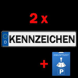 2x kfz kennzeichen und parkuhr